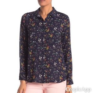 Covered Button Long Sleeves Blouse: navy floral